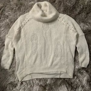 BCBGMaxAzria Sweaters - BCBGMAXAZRIA Distressed Wool Turtleneck Jumper